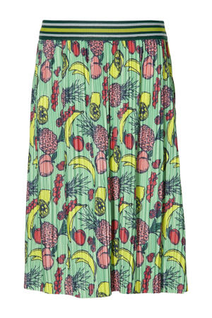 plissé rok Femi met all over print groen/multicolor