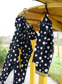 Quapi Mini gebloemde jumpsuit Glitter zwart/wit/geel, Zwart/wit/geel