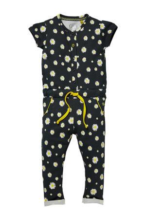 gebloemde jumpsuit Glitter zwart/wit/geel
