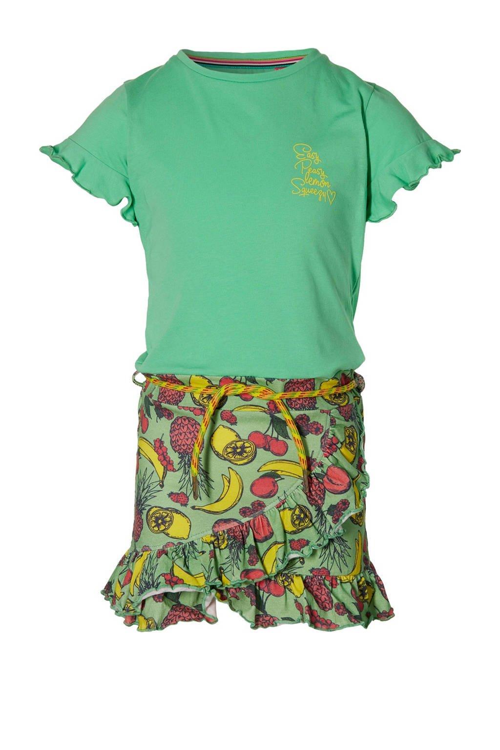 Quapi Girls jurk Faan met all over print en ruches fris groen/multicolor, Fris groen/multicolor