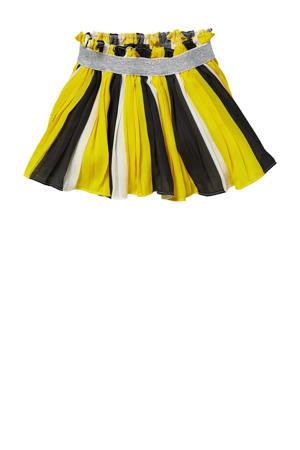 plissé rok Gijske geel/zwart/wit