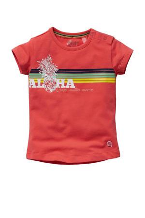 T-shirt Gracia met printopdruk koraalrood/multicolor