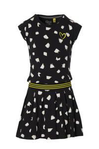 Quapi Girls jurk Fabia met all over print en plooien zwart/wit, Zwart/wit