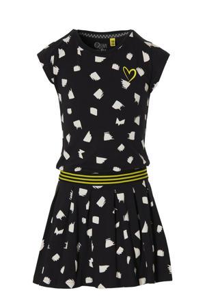 jurk Fabia met all over print en plooien zwart/wit