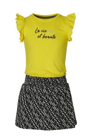 jurk Falijne met all over print en ruches geel/zwart