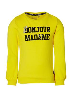 sweater Femke met tekst geel