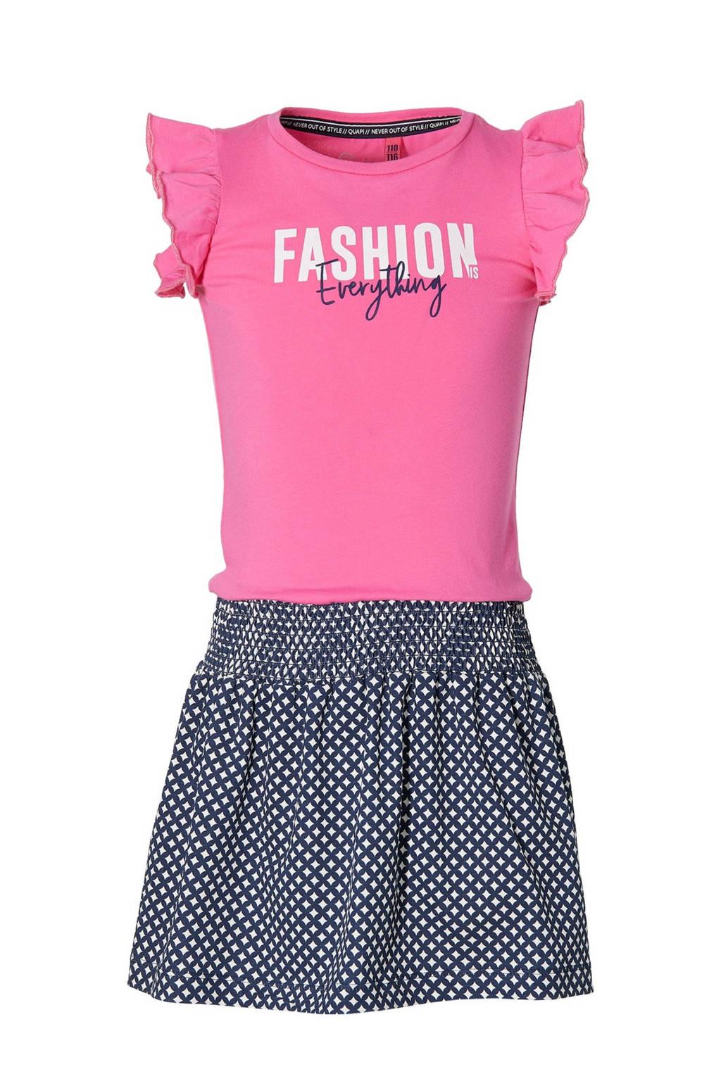 Quapi Girls jurk Faily met all over print en ruches donkerblauw/fuchsia, Donkerblauw/fuchsia