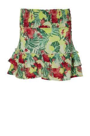 gebloemde rok Ferona geel/rood/groen