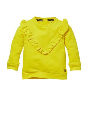 sweater Gila met ruches geel