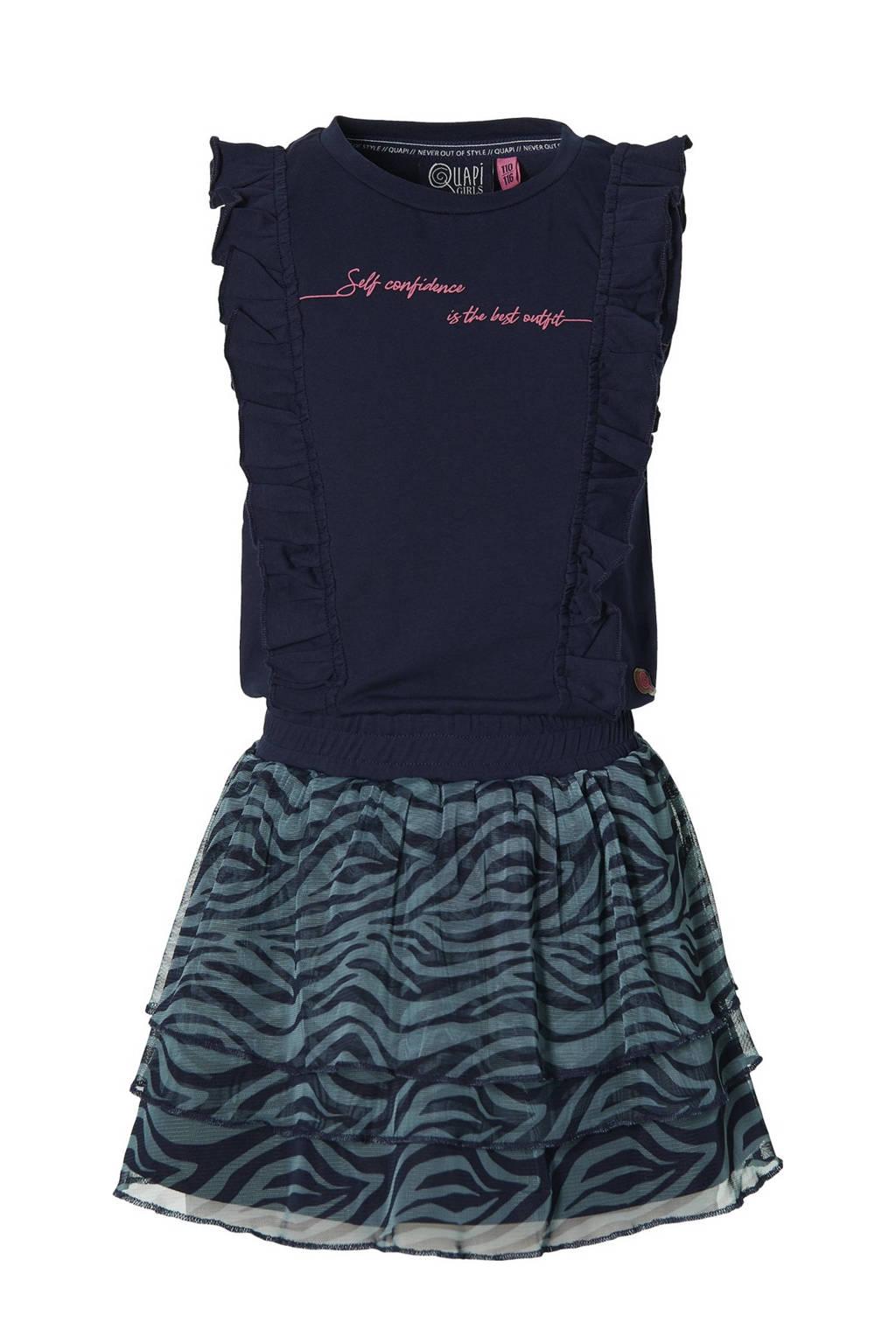 Quapi Girls jurk Fania met all over print en ruches donkerblauw/blauw, Donkerblauw/blauw