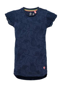 Quapi Mini jurk Geeke met all over print en ruches donkerblauw, Donkerblauw