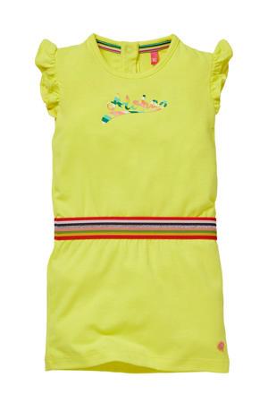 jurk Gineke met printopdruk en ruches citroengeel