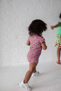 Quapi Mini jurk Geerte met all over print en ruches roze/lichtblauw, Roze/lichtblauw