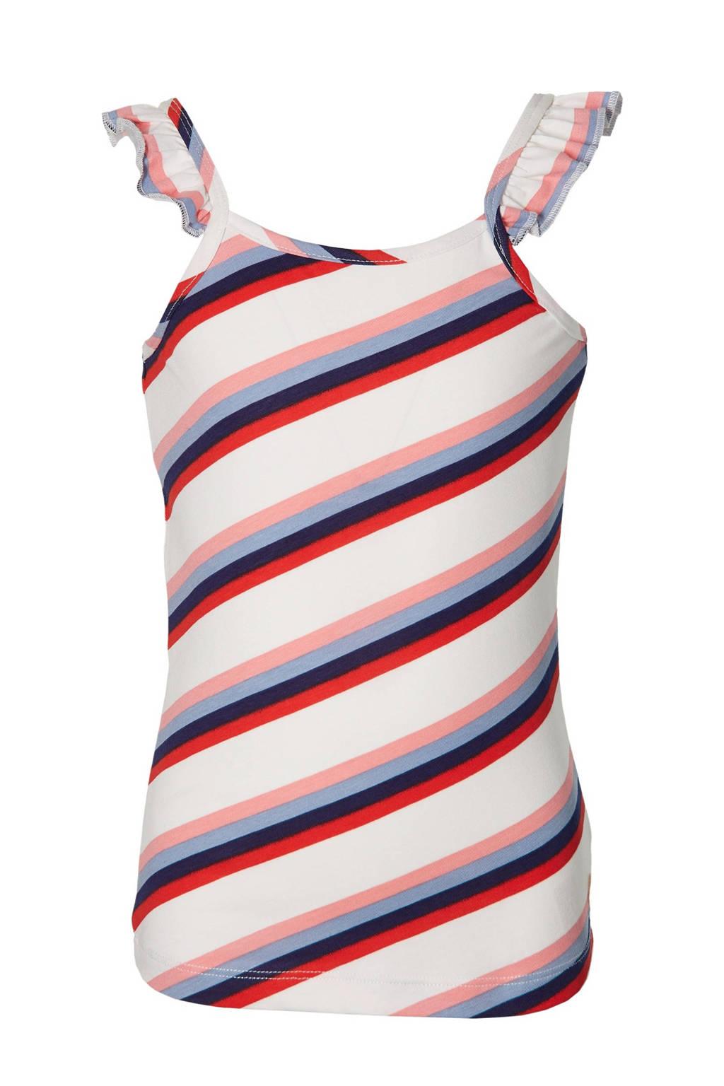 Quapi Girls gestreepte singlet Feden wit/roze/donkerblauw, Wit/roze/donkerblauw