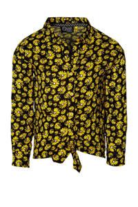 Quapi Girls gebloemde blouse Fera geel/zwart, Geel/zwart