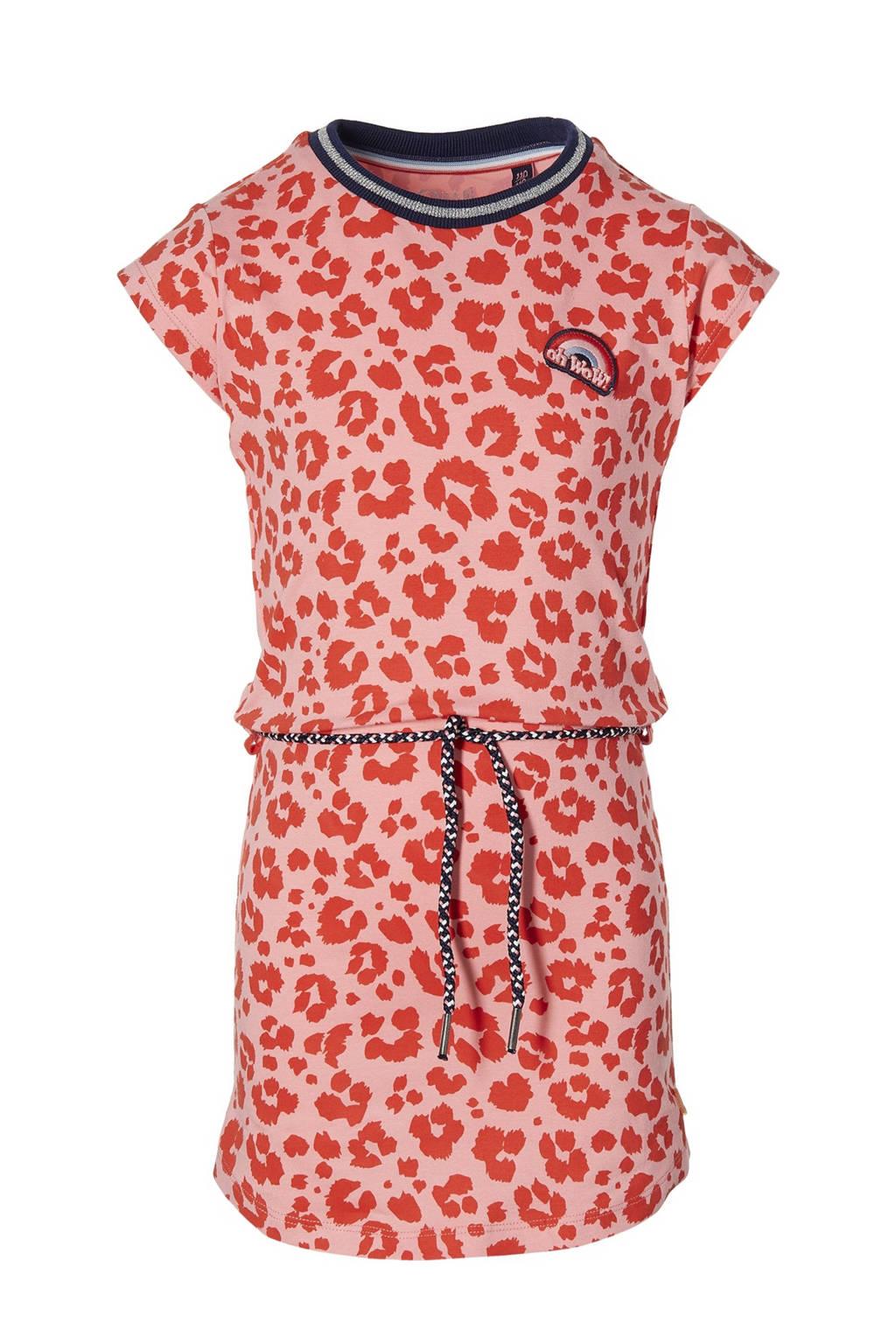 Quapi Girls jurk Fab met panterprint roze/rood, Roze/rood