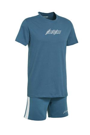 T-shirt + sweatshort donkerblauw