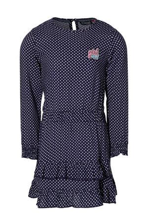 jurk Farida met all over print en volant donkerblauw/wit