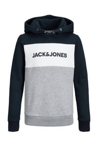 JACK & JONES JUNIOR hoodie Logo met logo donkerblauw/grijs melange/wit, Donkerblauw/grijs melange/wit