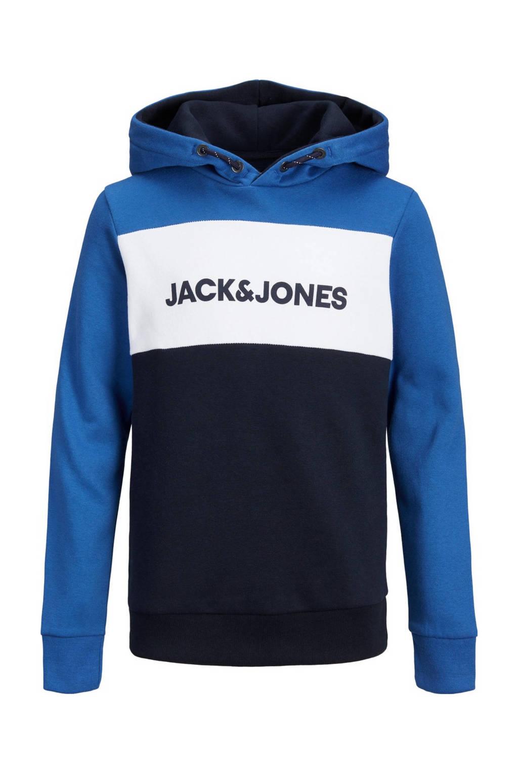 JACK & JONES JUNIOR hoodie Logo met logo blauw/donkerblauw/wit, Blauw/donkerblauw/wit