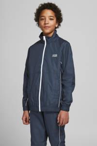 JACK & JONES JUNIOR  zomerjas Pippen met logo donekrblauw/wit, Donekrblauw/wit