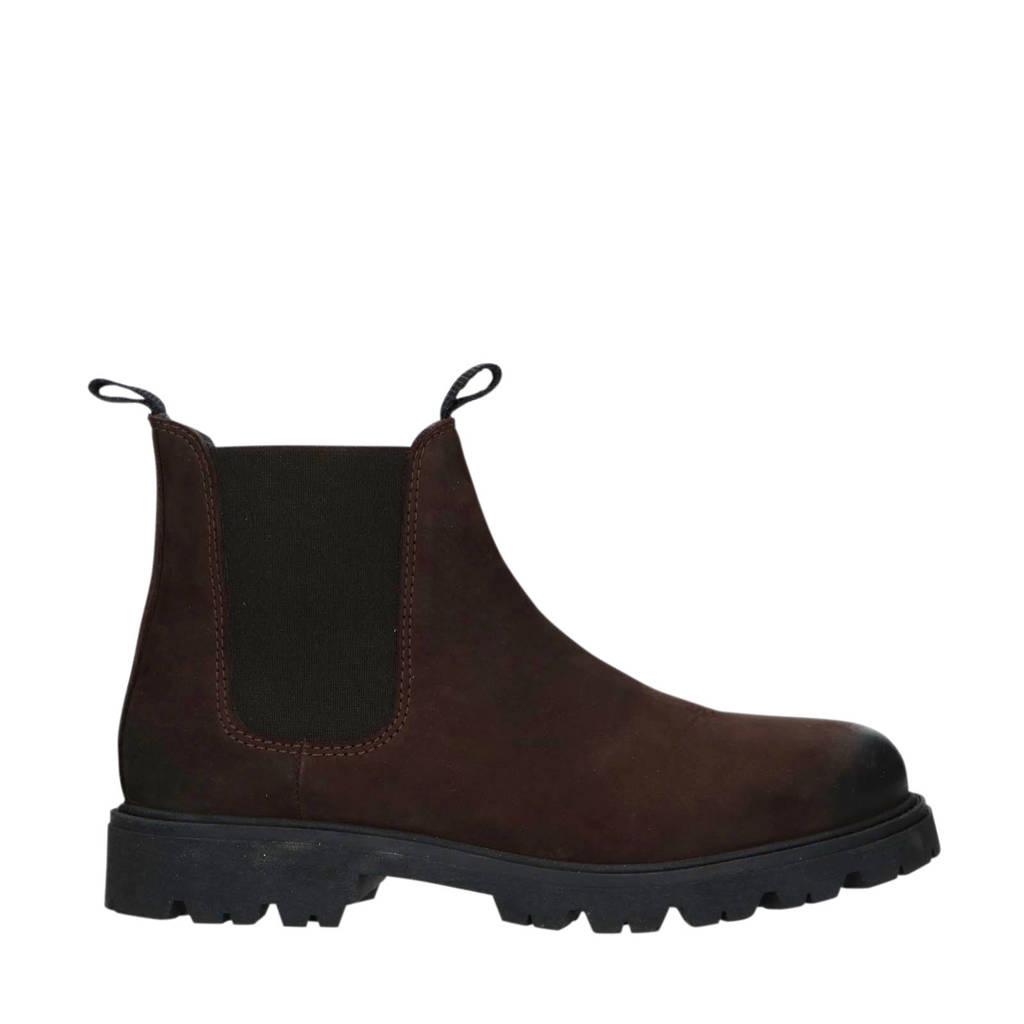 Manfield   nubuck chelsea boots donkerbruin, Donkerbruin