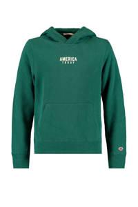America Today hoodie met tekst groen/wit, Groen/wit