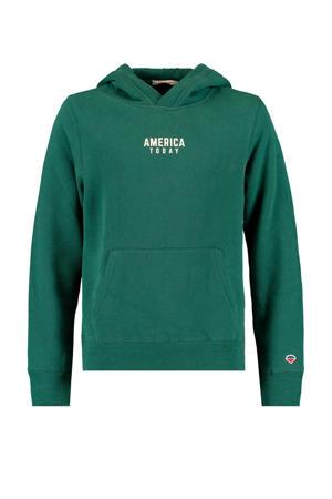 hoodie met tekst groen/wit