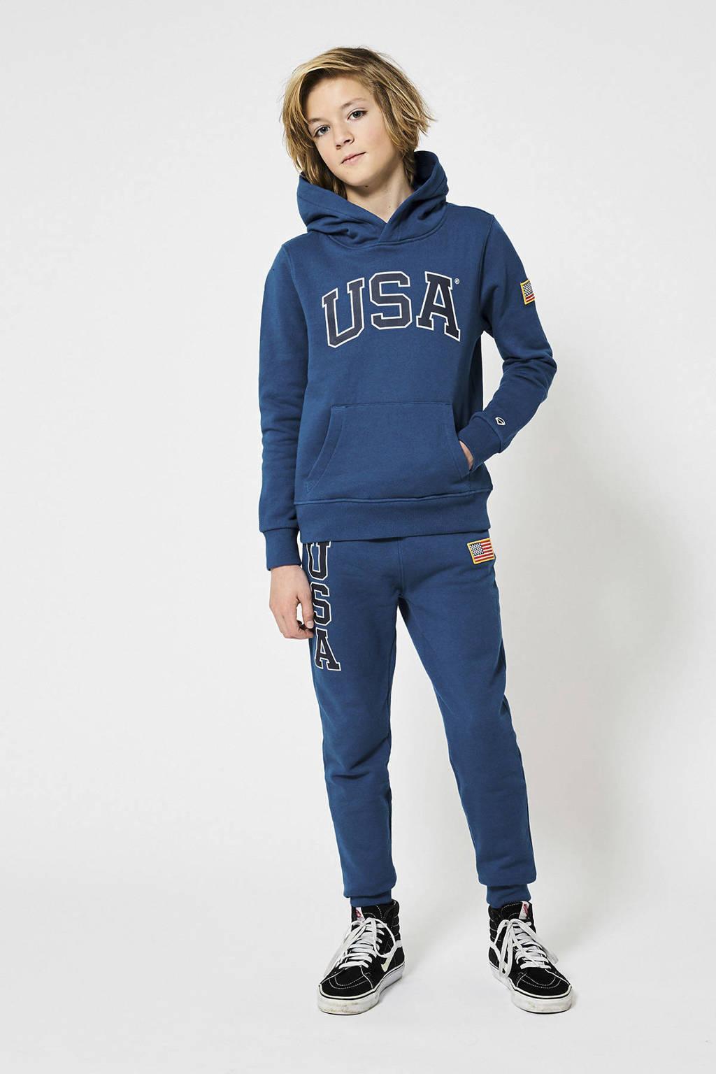 America Today Junior joggingbroek Colton met tekst en patches blauw, Blauw