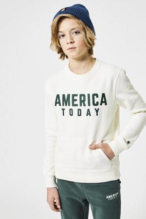 sweater met tekst wit/groen