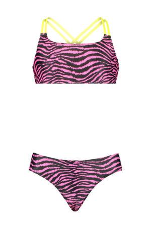 crop bikini Yosi met zebraprint zwart/roze