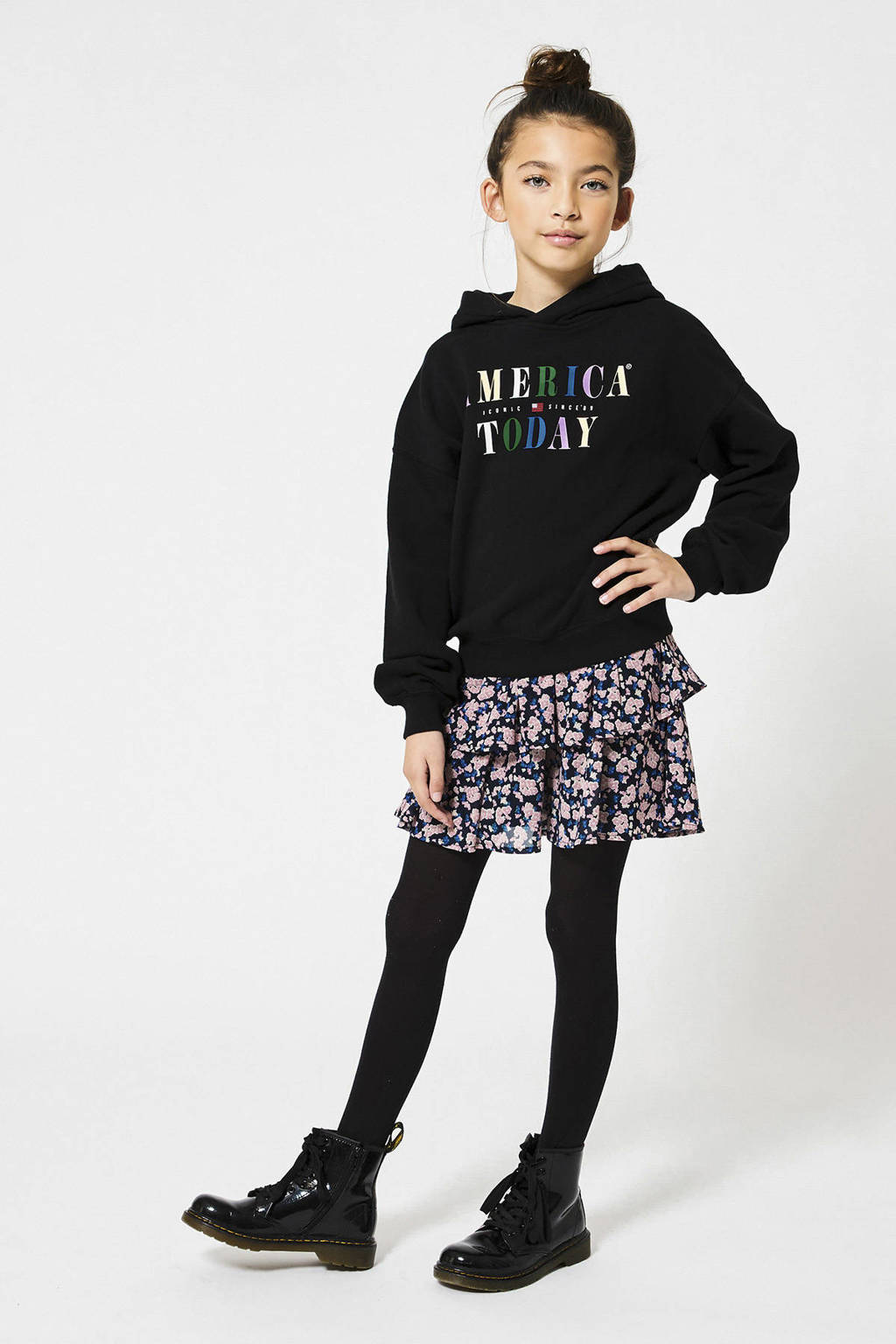 America Today Junior rok Rosalin van gerecycled polyester donkerblauw/roze/blauw, Donkerblauw/roze/blauw