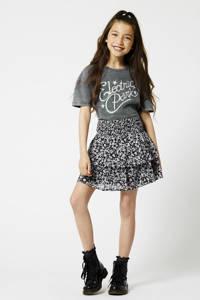 America Today Junior gebloemde rok Rosalin zwart/roze, Zwart/roze