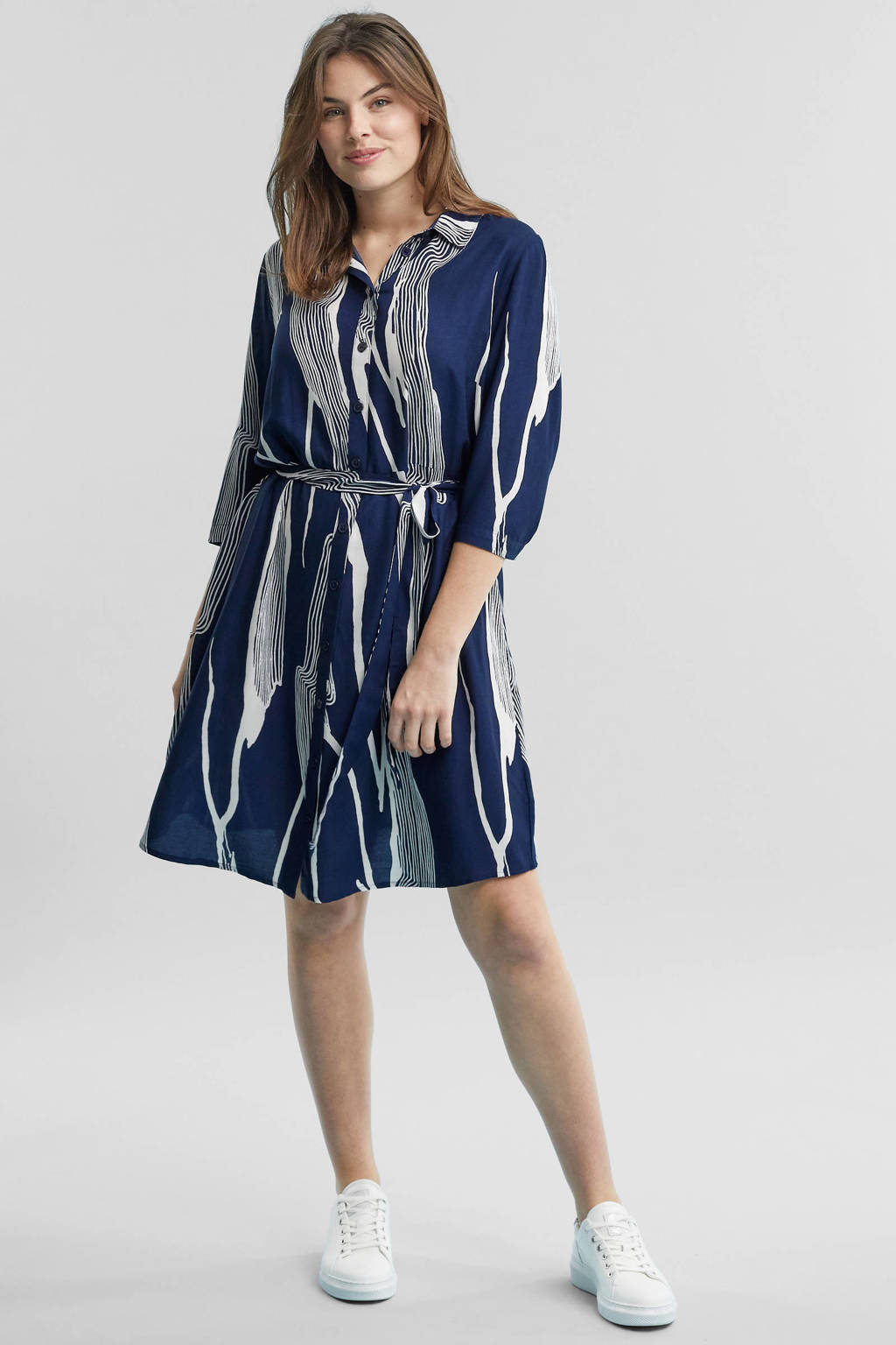 GREAT LOOKS blousejurk blauw, Blauw/wit