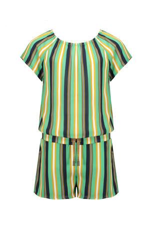 gestreepte jumpsuit Sarah groen/geel/donkerblauw