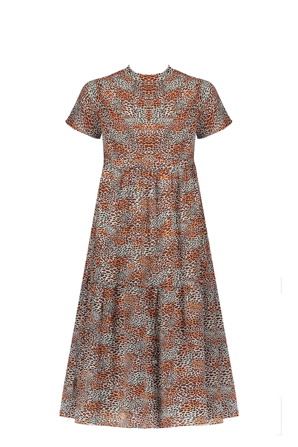 NoBell' maxi jurk Mian met dierenprint en plooien beige/roestbruin/oranje, Beige/roestbruin/oranje