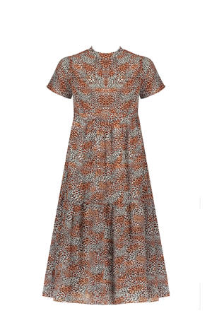 maxi jurk Mian met dierenprint en plooien beige/roestbruin/oranje