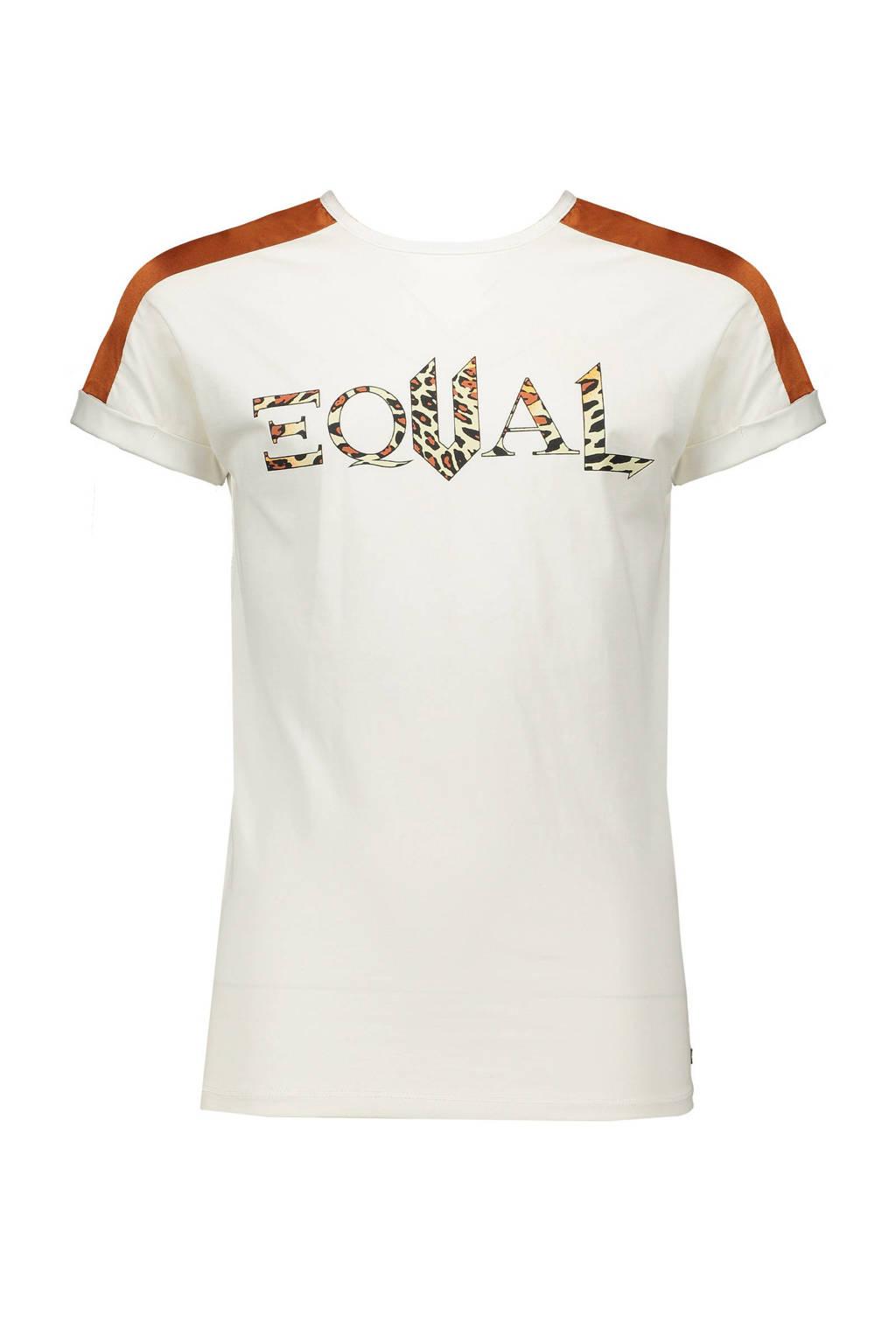 NoBell' T-shirt Kamy met contrastbies wit/roestbruin/zwart, Wit/roestbruin/zwart