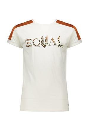 T-shirt Kamy met contrastbies wit/roestbruin/zwart