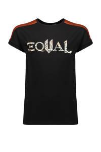 NoBell' T-shirt Kamy met contrastbies zwart/wit/roestbruin, Zwart/wit/roestbruin