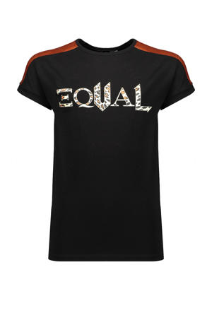 T-shirt Kamy met contrastbies zwart/wit/roestbruin
