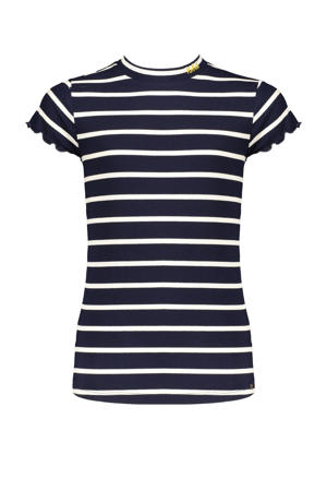 gestreept T-shirt Kimas donkerblauw/wit