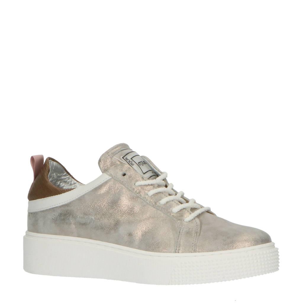 Mjus TODAY  leren sneakers zilver, zilver/taupe