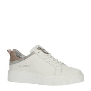 TODAY  leren sneakers wit/taupe