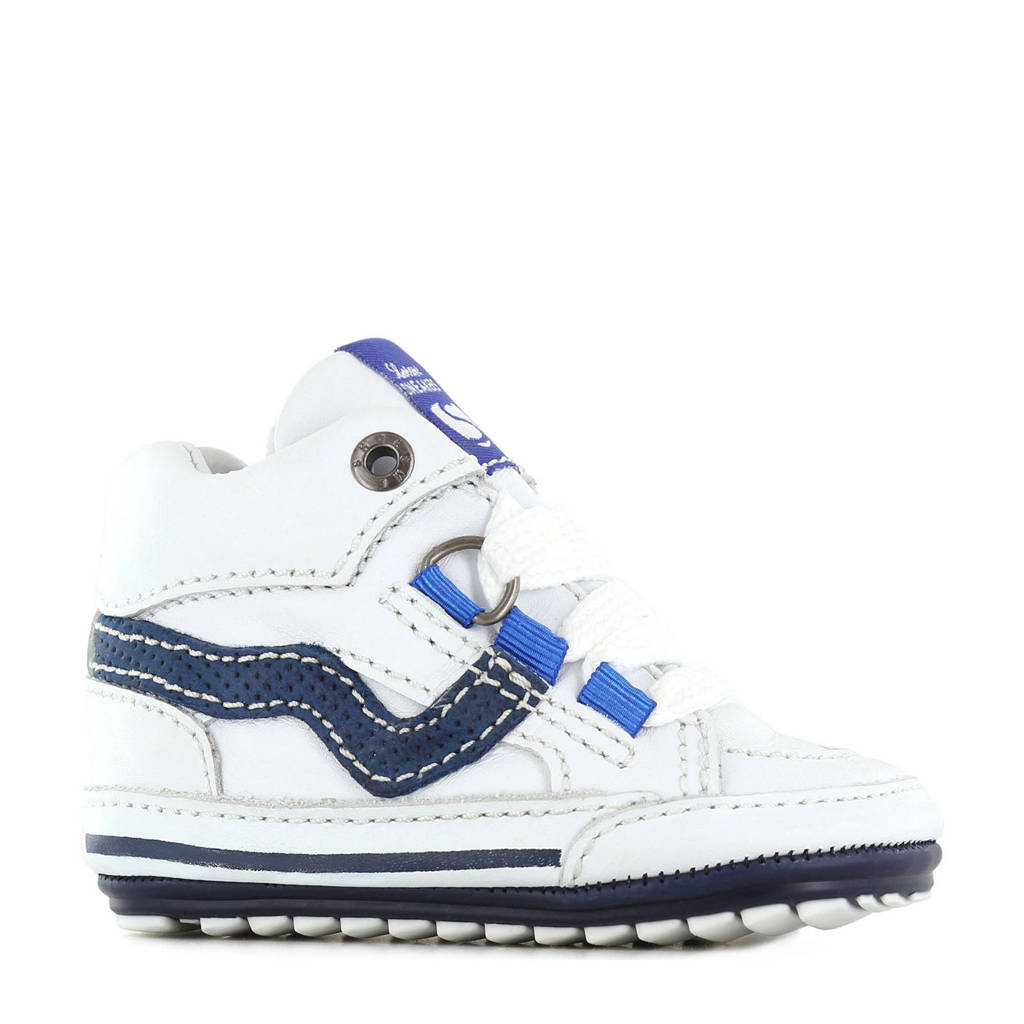 Shoesme BP21S055-D  leren babysneakers wit, Wit/blauw