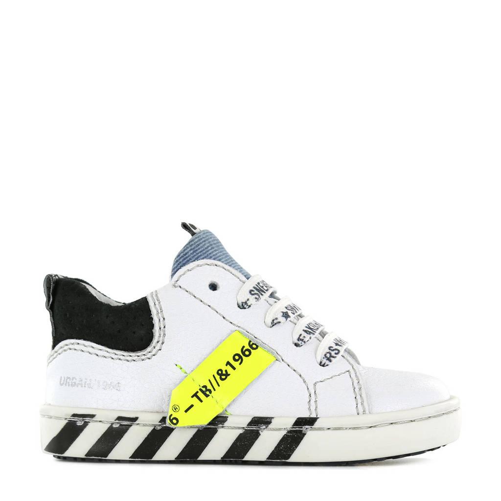 Shoesme UR21S017-C  leren sneakers wit, Wit/zwart/geel