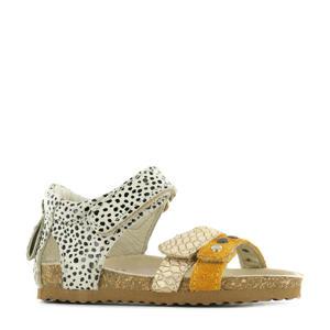 BI21S076-B  leren sandalen beige/multi