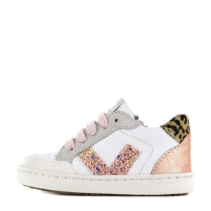 UR21S043-D  leren sneakers met glitters wit