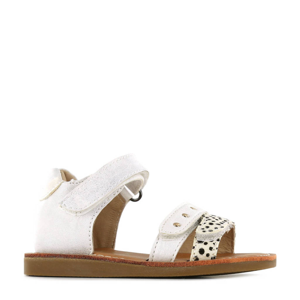 Shoesme CS21S014-A  leren sandalen met dierenprint wit, Wit