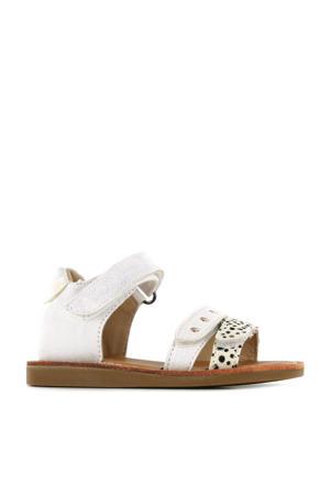 CS21S014-A  leren sandalen met dierenprint wit